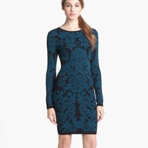 Felicity & Coco Teal Black Floral Sweater Dress